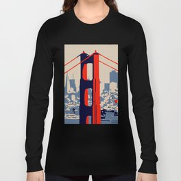 Golden gate bridge vector art Long Sleeve T-shirt