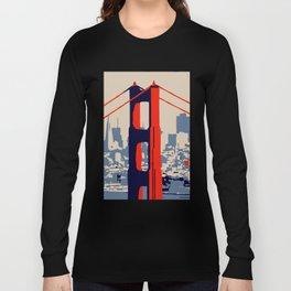 Golden gate bridge vector art Long Sleeve T-shirt