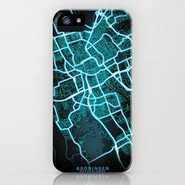 Groningen, Netherlands, Blue, White, Neon, Glow, City, Map iPhone Case