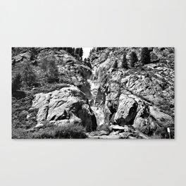 waterfall rope bridge kaunertal alps tyrol austria europe black white 1 Canvas Print