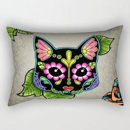 Black Cat - Day of the Dead Sugar Skull Kitty Rectangular Pillow