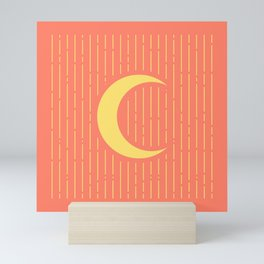 Yellow & Salmon Crescent Moon Mini Art Print
