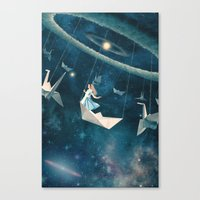 lady Canvas Prints featuring My Favourite Swing Ride by Paula Belle Flores