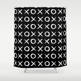 Hugs and kisses OXXOXXOXX in Black Shower Curtain