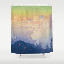 Above the Clouds (Un-Hyo)  Vintage Beautiful Japanese Woodblock Print Hiroshi Yoshida Shower Curtain