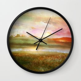 Sunset and flowers Wall Clock