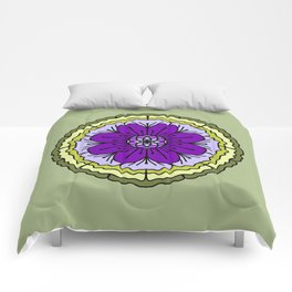 Mandala-purple and green Comforters