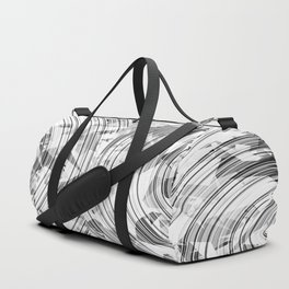 psychedelic geometric circle pattern abstract background in black and white Duffle Bag