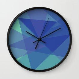 Geometric Mosaic Triangles (blue) Wall Clock