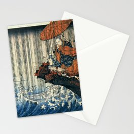 Ukiyo-e, Utagawa Kuniyoshi, Priest Nichiren praying under the storm Stationery Cards