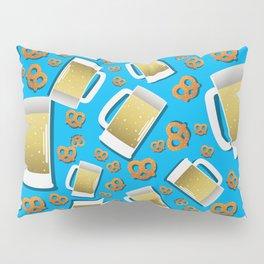 Beer and pretzel pattern on blue background German Bavarian Oktoberfest Pillow Sham