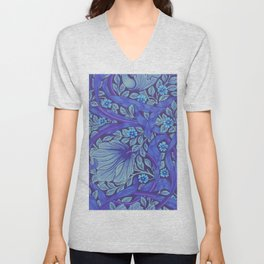 William Morris Indigo Forget Me Not Floral Art Nouveau Unisex V-Neck