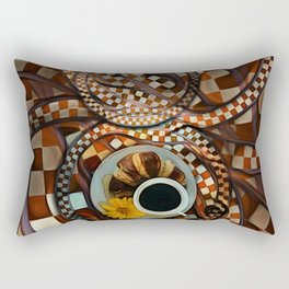 Midnight Never Ends, a Diner Shop Fractal Tribute to Coffee Conversations Rectangular Pillow