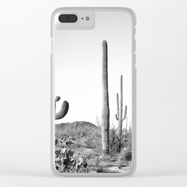 Grey Cactus Land Clear iPhone Case