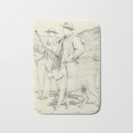 ANKER, ALBERT (1831 Ins 1910) Two hikers with dog. Bath Mat
