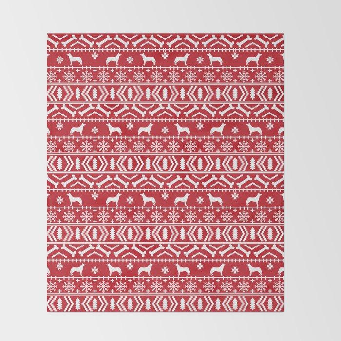 Husky Fair Isle Red And White Minimal Christmas Dog Pattern Gifts Best Red And White Christmas Throw Blanket