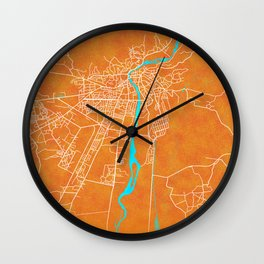 Kutaisi, Georgia, Gold, Blue, City, Map Wall Clock