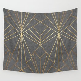 Art Deco in Gold & Grey - Large Scale Wall Tapestry