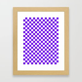 White and Indigo Violet Checkerboard Framed Art Print