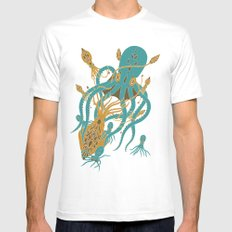 Battle of the Cephalopods MEDIUM White Mens Fitted Tee