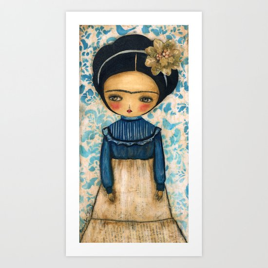 Frida In A Blue And Cream Dress Art Print