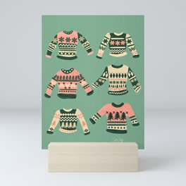 Christmas Sweaters – Vintage Blush Mint Palette Mini Art Print