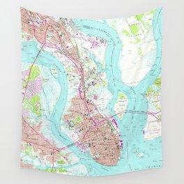 Vintage Map of Charleston South Carolina (1958) Wall Tapestry