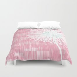Pink Doodle Floral by Friztin Duvet Cover