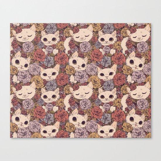 Floral Cat Pattern Canvas Print