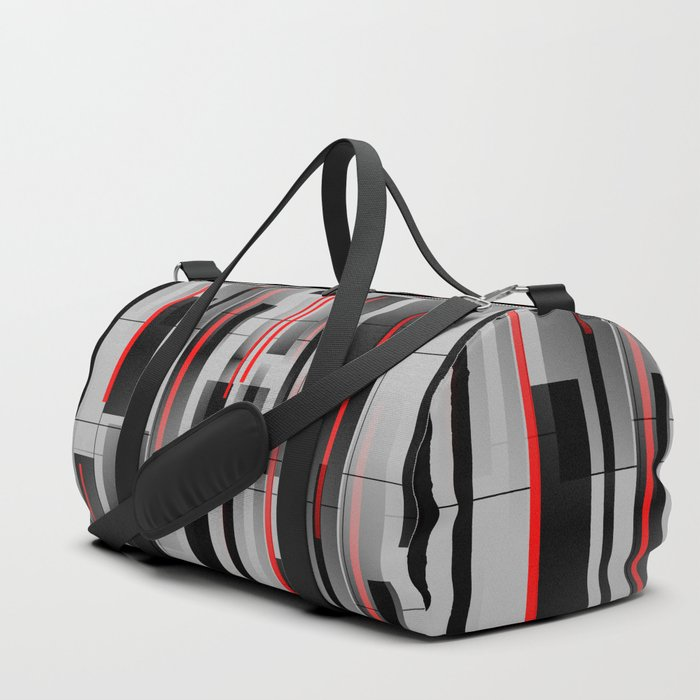 Off the Grid - Abstract - Gray, Black, Red Duffle Bag