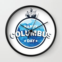 Columbus expedition ship around the world - Happy Columbus Day Wall Clock