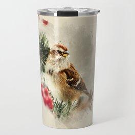 American Tree Sparrow Watercolor Art Travel Mug