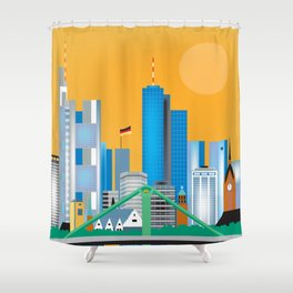Frankfurt, Germany - Skyline Illustration by Loose Petals Shower Curtain