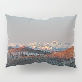 Sunset at spruce forest and mountains. Pillow Sham