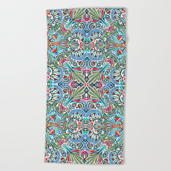The middle of the Earth mandala Beach Towel