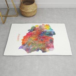 Poland Map Watercolor by Zouzounio Art Rug
