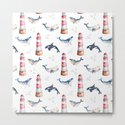 Sea Voyage Whales and Lighthouses Pattern by fantasticvoyage