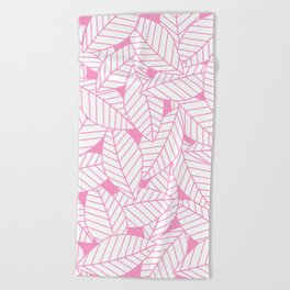 Leaves in Flamingo Beach Towel