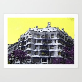 Casa Mila by legend architect Antoni Gaudi - Barcelona, Spain Art Print