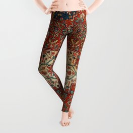 North-West Persia Bijar Old Century Authentic Colorful Royal Red Blue Green Vintage Patterns Leggings