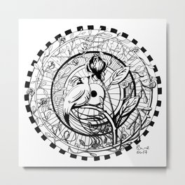 Bird and Rose Zendala Metal Print