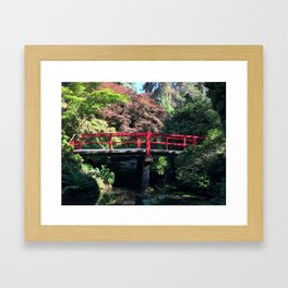 Red bridge at Kubota Garden Framed Art Print