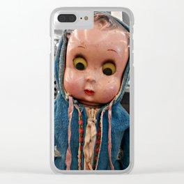 Creepy Blue-Hoodie Baby Clear iPhone Case