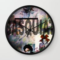 basquiat Wall Clocks featuring Basquiat by Andrew Spangler