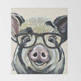 Pig with Glasses, Cute Farm Art Throw Blanket