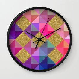 Colorfur squares pattern Wall Clock