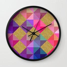 Colorfur squares pattern Wall Clock
