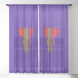 Rainbow Ganesha (Purple Background) Sheer Curtain