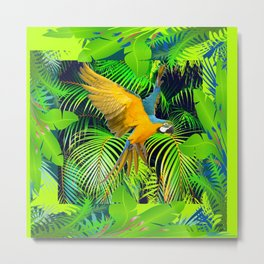 BLUE & GOLD MACAW JUNGLE  ART DESIGN Metal Print