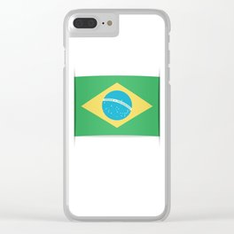 Flag of Brazil. The slit in the paper with shadows. Clear iPhone Case
